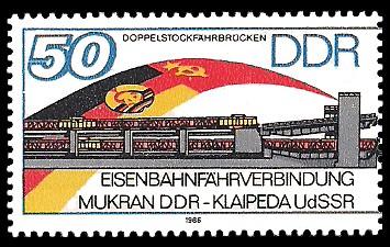 50 Pf Briefmarke: Eisenbahnfährverbindung Mukran-Klaipeda, Doppelstockfährbrücken