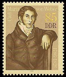 85 Pf Briefmarke: 200. Geburtstag Carl Maria von Weber