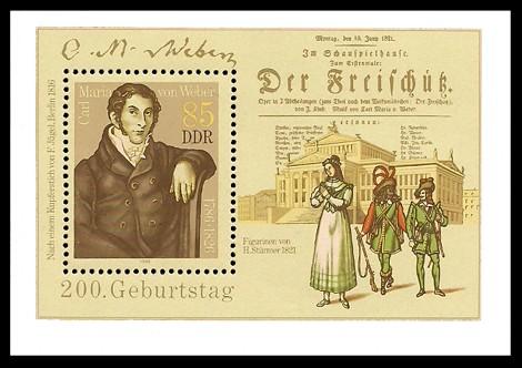 Briefmarke: Block - 200. Geburtstag Carl Maria von Weber