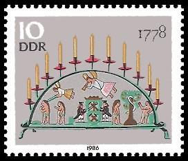 10 Pf Briefmarke: Erzgebirgische Schwibbogen, 1778