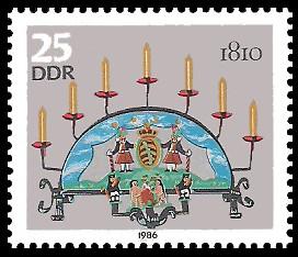 25 Pf Briefmarke: Erzgebirgische Schwibbogen, 1810