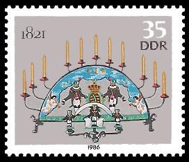 35 Pf Briefmarke: Erzgebirgische Schwibbogen, 1821