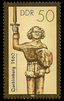 50 Pf Briefmarke: Rolande, Quedlinburg