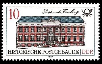 10 Pf Briefmarke: Historische Postgebäude, Postamt Freiberg