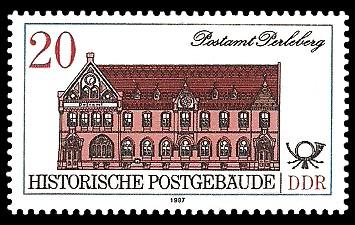 20 Pf Briefmarke: Historische Postgebäude, Postamt Perleberg