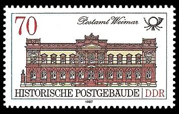 70 Pf Briefmarke: Historische Postgebäude, Postamt Weimar