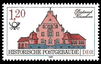 1,20 M Briefmarke: Historische Postgebäude, Postamt Kirschau