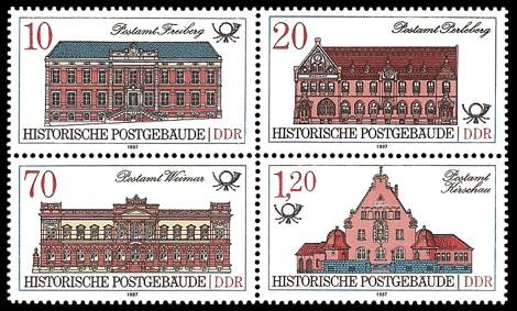 Briefmarke: Viererblock - Historische Postgebäude