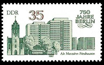 35 Pf Briefmarke: 750 Jahre Berlin, Alt-Marzahn u. Neubauten