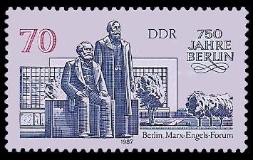 70 Pf Briefmarke: 750 Jahre Berlin, Marx-Engels-Forum