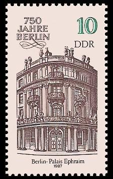 10 Pf Briefmarke: 750 Jahre Berlin, Palais Ephraim