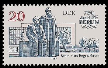 20 Pf Briefmarke: 750 Jahre Berlin, Marx-Engels-Forum