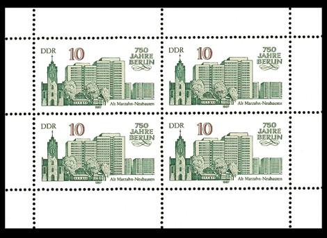 Briefmarke: Kleinbogen - 750 Jahre Berlin, Alt-Marzahn u. Neubauten