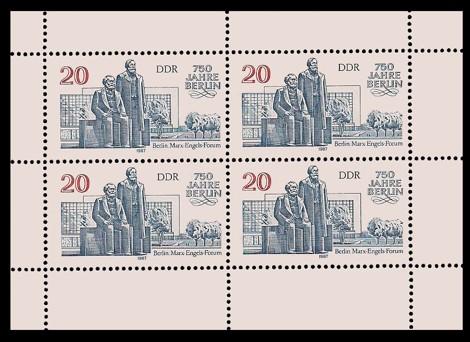 Briefmarke: Kleinbogen - 750 Jahre Berlin, Marx-Engels-Forum