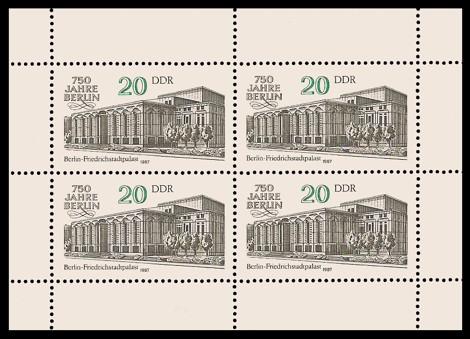 Briefmarke: Kleinbogen - 750 Jahre Berlin, Friedrichstadtpalast