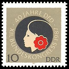 10 Pf Briefmarke: 40 Jahre DFD