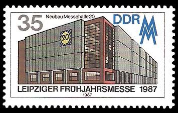 35 Pf Briefmarke: Leipziger Frühjahrsmesse 1987, Messehalle 20