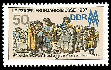 50 Pf Briefmarke: Leipziger Frühjahrsmesse 1987, alte Händlerszene