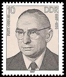 10 Pf Briefmarke: Verdienstvolle Persönlichkeiten der Arbeiterbewegung, Fritz Gäbler