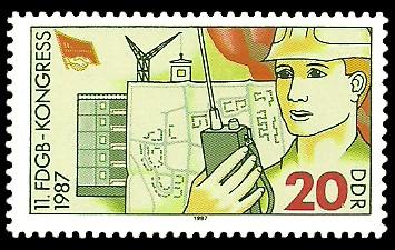 20 Pf Briefmarke: 11. FDGB-Kongress 1987, Bauarbeiter
