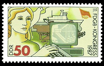 50 Pf Briefmarke: 11. FDGB-Kongress 1987, Computer-Arbeitsplatz