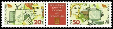 Briefmarke: Dreierstreifen - 11. FDGB-Kongress