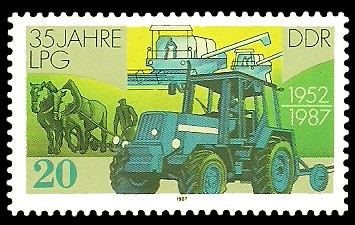 20 Pf Briefmarke: 35 Jahre LPG