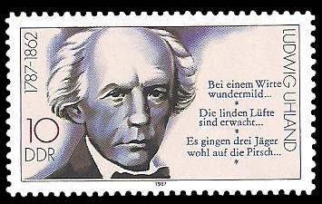 10 Pf Briefmarke: Bedeutende Persönlichkeiten, Ludwig Uhland
