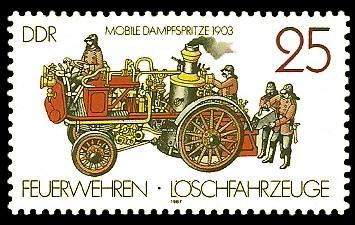 25 Pf Briefmarke: Feuerwehren und Löschfahrzeuge, Mobile Dampfspritze