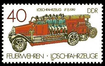 40 Pf Briefmarke: Feuerwehren und Löschfahrzeuge, Löschfahrzeug LF15
