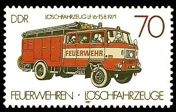 70 Pf Briefmarke: Feuerwehren und Löschfahrzeuge, Löschfahrzeug LF16-TS8
