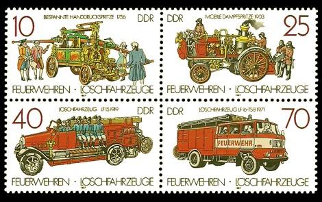 Briefmarke: Viererblock - Feuerwehren und Löschfahrzeuge