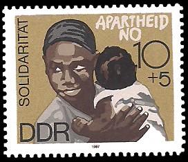 10 + 5 Pf Briefmarke: Solidarität, APARTHEID NO