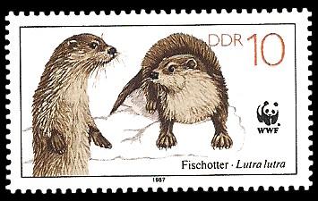 10 Pf Briefmarke: Vom Aussterben bedrohte Tiere, Fischotter