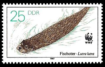 25 Pf Briefmarke: Vom Aussterben bedrohte Tiere, Fischotter