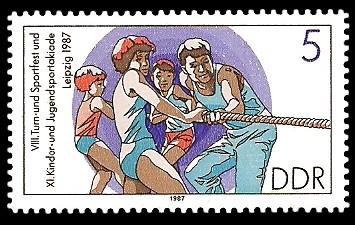 5 Pf Briefmarke: XI. Kinder- und Jugendspartakiade u. VIII. Turn- und Sportfest, Tauziehen