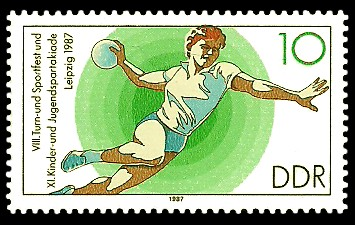 10 Pf Briefmarke: XI. Kinder- und Jugendspartakiade u. VIII. Turn- und Sportfest, Handball