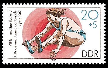 20 + 5 Pf Briefmarke: XI. Kinder- und Jugendspartakiade u. VIII. Turn- und Sportfest, Weitsprung