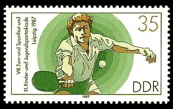35 Pf Briefmarke: XI. Kinder- und Jugendspartakiade u. VIII. Turn- und Sportfest, Tischtennis