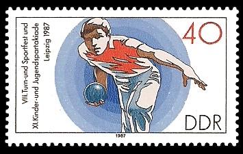 40 Pf Briefmarke: XI. Kinder- und Jugendspartakiade u. VIII. Turn- und Sportfest, Kegeln