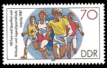 70 Pf Briefmarke: XI. Kinder- und Jugendspartakiade u. VIII. Turn- und Sportfest, Laufen