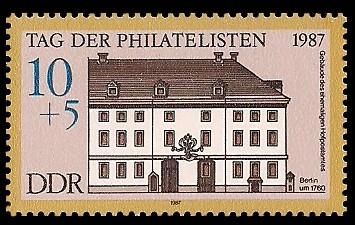 10 + 5 Pf Briefmarke: Tag der Philatelisten 1987, ehemaliges Hofpostamt Bln