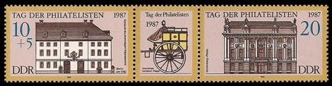 Briefmarke: Dreierstreifen - Tag der Philatelisten 1987