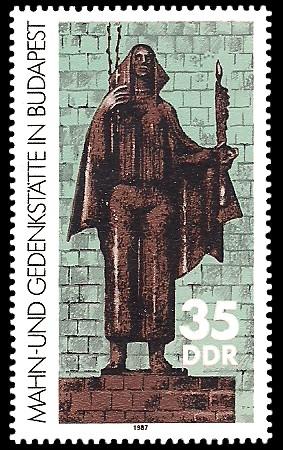 35 Pf Briefmarke: Mahn- und Gedenkstätte Budapest