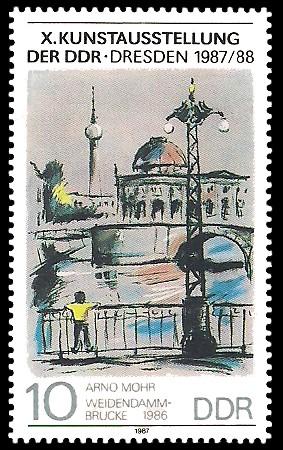 10 Pf Briefmarke: X. Kunstausstellung der DDR, Weidendammbrücke