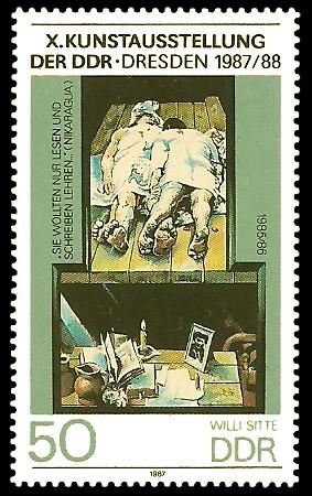 50 Pf Briefmarke: X. Kunstausstellung der DDR, Lesen und Schreiben