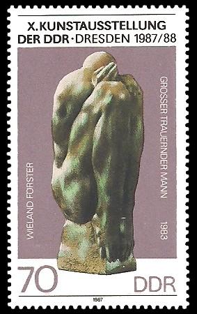 70 Pf Briefmarke: X. Kunstausstellung der DDR, trauernder Mann