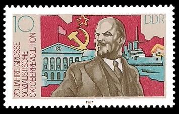 10 Pf Briefmarke: 70 Jahre Grosse Sozialistische Oktoberrevolution, W.I.Lenin