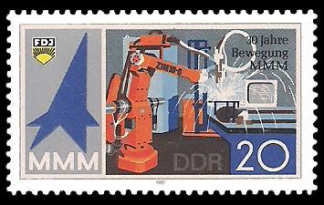 20 Pf Briefmarke: 30 Jahre Bewegung MMM, Schweißroboter