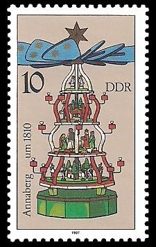 10 Pf Briefmarke: Weihnachtspyramiden aus dem Erzgebirge, Annaberg